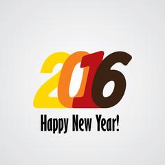 happy new year 2016 vector design icon in red yellow orange colo