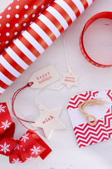 Red White Christmas Gift Wrapping.