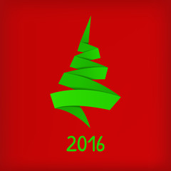 Stylized origami Christmas tree on red background.