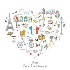 Set of hand drawn French icons, Paris sketch illustration, doodle elements, Isolated national elements made in vector. Travel to France icons for cards and web pages, Paris symbols collection