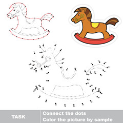 Rocking horse to be traced. Vector numbers game.