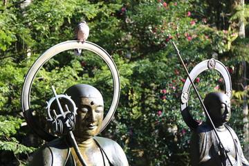 鳩と高野山奥之院水掛け地蔵