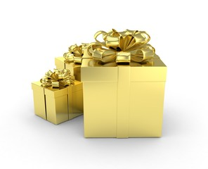three gift boxes with bows on white
