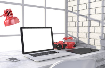 3D illustration laptop and work stuff on table near brick wall, Workspace