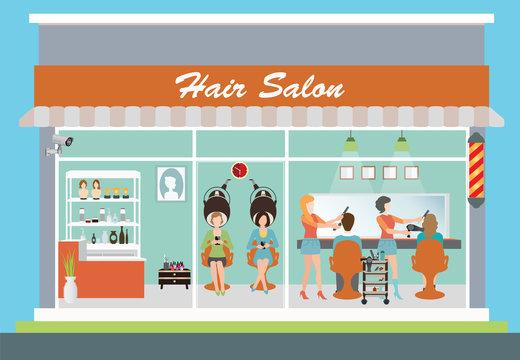 Hair salon building and interior.