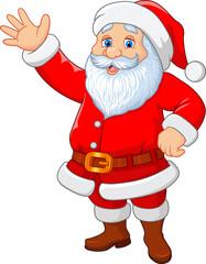 Cartoon funny Santa waving hand isolated on white background