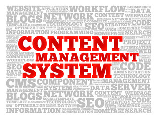 CMS Content Management System word cloud, business concept