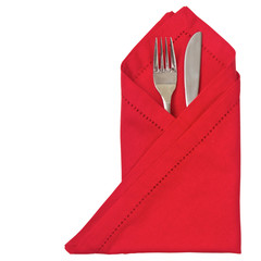 Red napkin with cutlery