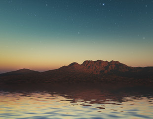 Alien Planet. 3D landscape with stars reflected in water surface.