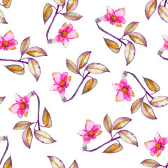 A seamless pattern with the watercolor crimson and scarlet small exotic flowers, hibiscus painted on a white background