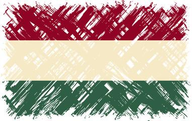 Hungarian grunge flag. Vector illustration.