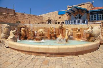 fountain with zodiac signs, Old Jaffa, Tel Aviv, Israel.