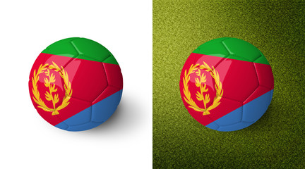 3d realistic soccer ball with the flag of Eritrea on it isolated on white background and on green soccer field. See whole set for other countries.