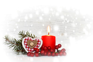 Christmas candle and Christmas decorations