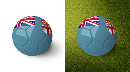 3d realistic soccer ball with the flag of Fiji on it isolated on white background and on green soccer field. See whole set for other countries.
