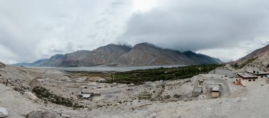 rian cloud over Nubra river, view point at Panamik village, Indi