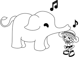An elephant covers a small girl with a hat.