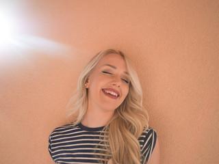Fototapeta Lifestyle portrait of stunning hipster girl,toned warm colors, p obraz