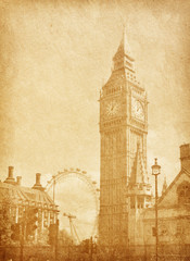 old paper texture. London, UK. View from Abingdon street. sepia