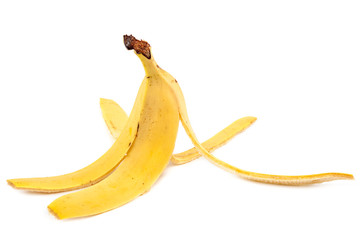 Banana peel on a white background.
