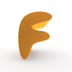 3d rendering of the letter F in gold metal on a white isolated b