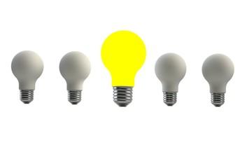Row of light bulb  on white background