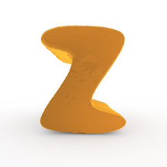 3d rendering of the letter Z in gold metal on a white isolated b