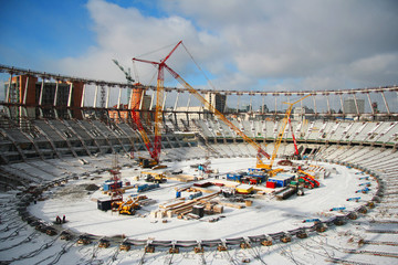 In de dag Stadion Construction of the stadium