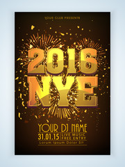 Flyer or Banner for New Year's 2016 Eve Party celebration.