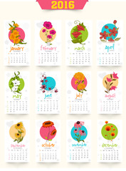 Creative Yearly 2016 Calendar for New Year celebration.