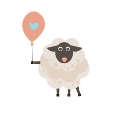 Cute sheep with a sign for text