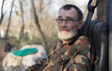 sad and bitter homeless man