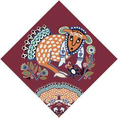 ukrainian tribal ethnic painting, unusual animal, folk illustrat