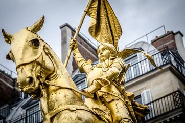 Close up of Joan of Arc on the Rue de Rivoli in Paris