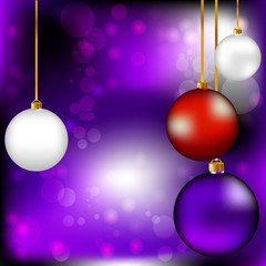 Фиолетовый Новогодний фон с елочными игрушками