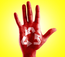 Recycle Symbol written on hand with yellow background
