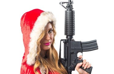 Christmas woman holding a pistol