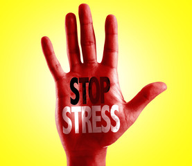Stop Stress written on hand isolated on white background