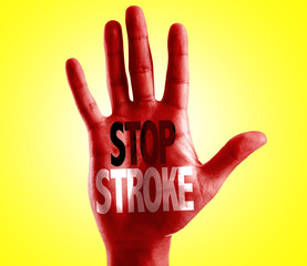 Stop Stroke written on hand isolated on white background