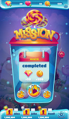 Sweet world mobile GUI mission completed window
