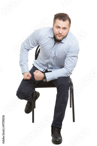"""""""man sitting on chair. Isolated white background. Body ..."""