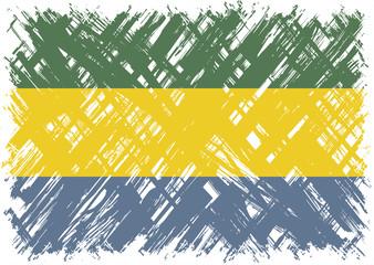 Gabonese grunge flag. Vector illustration.