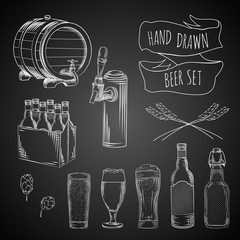 beer hand drawn set