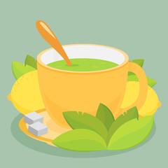 Green tea with lemon. Flat vector