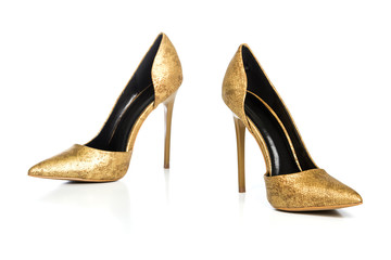 Stiletto high heels shoes in golden animal print design