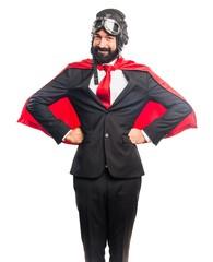 Happy super hero businessman