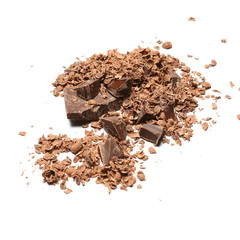 Chocolate pieces and shavings