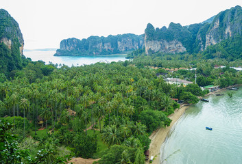 Aerial   view from cliff on Railay. Krabi. Thailand