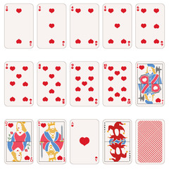 Vector Set of Heart Suit Playing Cards