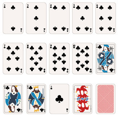 Vector Set of Club Suit Playing Cards